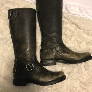 FRYE Womens Double Buckle Knee High Boots